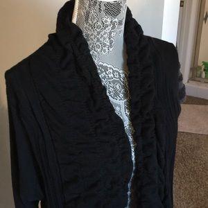 Sweaters - Long black cardigan sweater